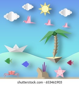 Ship, Island, Birds, Clouds, Sun and Underwater Life. Style Paper Origami Word. Cut Elements and Symbols for Travel Theme. Summer Landscape. Cutout Abstract Applique. Vector Illustrations Art Design.
