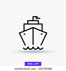 ship isolated minimal icon. liner line vector icon for websites and mobile minimalistic flat design.