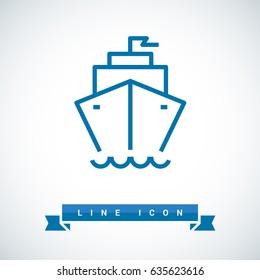 ship liner line vector icon