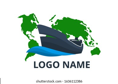 ship logo design for logistic import export trade docking company. Concept icon for trip travel agency in holiday with world map background. sail over world.