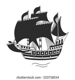 The ship, logo or emblem for companies, vector illustration.