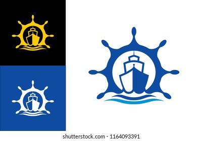 Ship Logo vector boat Sailing ship illustration on light background sign globe