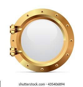 Ship metal porthole on white background