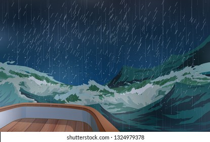 The ship was in the middle of a storm in the sea.