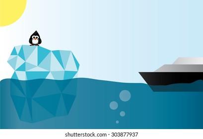 Ship Near Glacier With Penguin