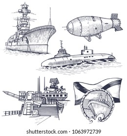 Ship with nuclear rocket, nuclear weapons. At the top is a dish receiving a signal. Vector illustration