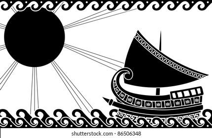 Ship in ocean in classic greek style. stencil