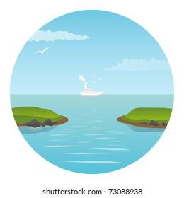 Ship in the ocean. Vector illustration.