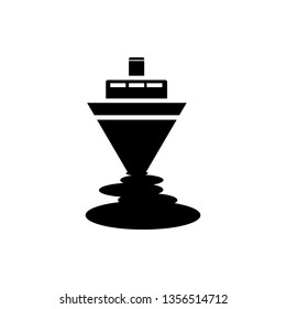 Ship, oil, sea pollution icon can be used for web, mobile and infographic. Vector icon