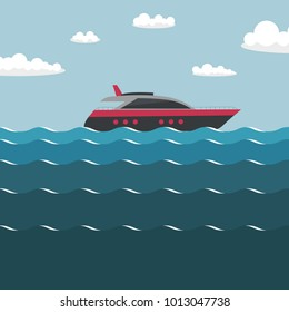Ship on the sea. Simple vector illustration.