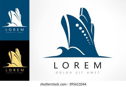 Ship on the sea vector. Ship and wave logo. Sea boat.