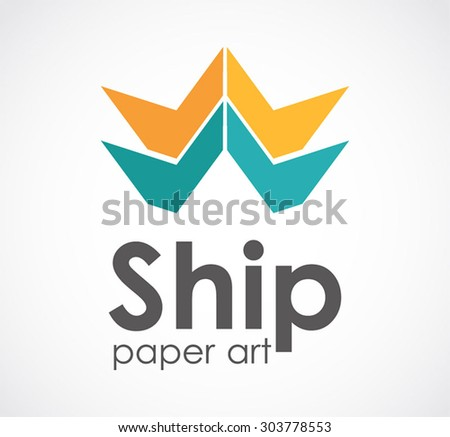 Ship Paper Craft Art Abstract Vector Stock Vector Royalty Free