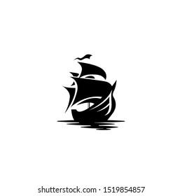 Ship Pirate Black template logo dowload