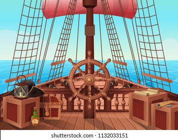 SHIP OF PIRATES. Vector illustration of sail boat bridge view. Background for games and mobile applications. Sea battle or traveling  concept.