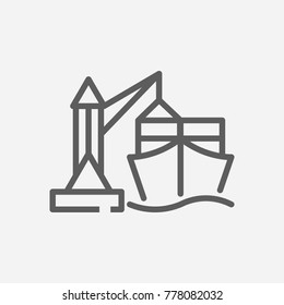 Ship port icon line symbol. Isolated vector illustration of seaport sign concept for your web site mobile app logo UI design.