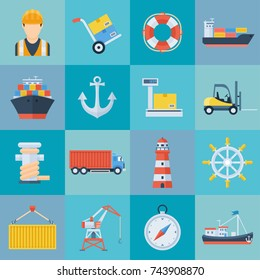 Ship port icon set. Harbor for ship to dock and transfer people or cargo, load or unload, supply and service centres. Vector flat style cartoon illustration isolated on blue background