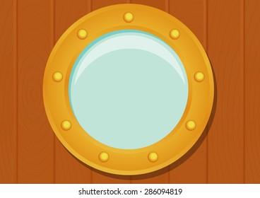 Ship porthole on wooden texture. eps10 vector illustration
