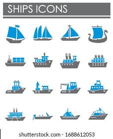 Ship related icons set on background for graphic and web design. Creative illustration concept symbol for web or mobile app.