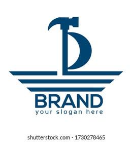 Ship Repair Logo, Flat design. Vector Illustration on turquoise background