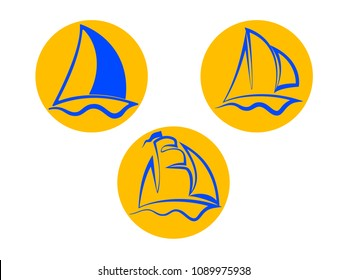 Ship sailer on yellow circle (set). Vector illustration.
