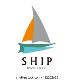 Ship sailing on the ocean abstract vector and logo design or template marine business icon of corporate and company identity symbol concept