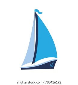 A ship with sails and an anchor. Can be used for travel agencies, for water competitions.