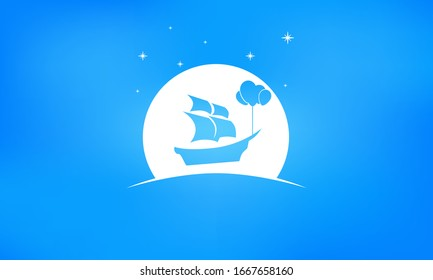 Ship with sales being carried through the sky by 4 balloons. Boat is passing in front of moon and stars are in the sky. Icon is against a blue gradient background. There is copy space under for text.