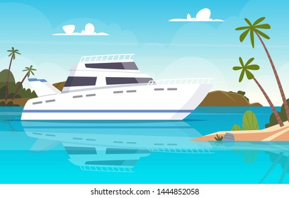 Ship at sea. Fishing boats underwater sunset ocean yacht or vessel vector background. Illustration of ship and boat, yacht near island