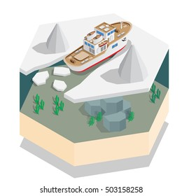 Ship in the sea ice. Isometric. Vector illustration.