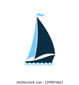 Ship at sea. Sailboat on the waves. Logo for yacht club, for a seafood restaurant. Nautical theme