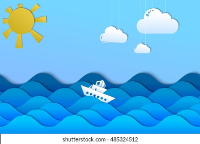Ship in the sea waves illustration, paper cut effect background