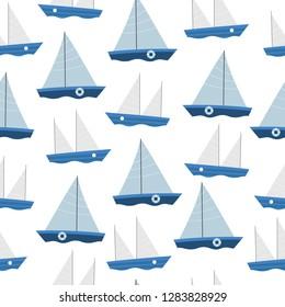 Ship seamless pattern. Nautical summer design.
