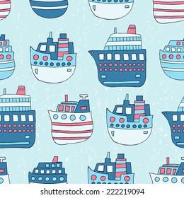 Ship seamless pattern. Vector illustration.