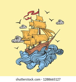 ship of the  see badge logo in vintage old school design, pirate ship cartoon, T-shirt design illustration - Images vectorielles