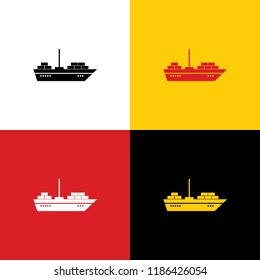 Ship sign illustration. Vector. Icons of german flag on corresponding colors as background.