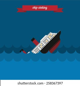 Ship sinking. Flat style design - vector