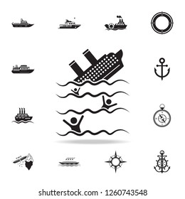 the ship is sinking icon. Detailed set of ship icons. Premium graphic design. One of the collection icons for websites, web design, mobile app