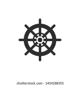 Ship steering icon template color editable. Rudder symbol vector sign isolated on white background. Simple logo vector illustration for graphic and web design.