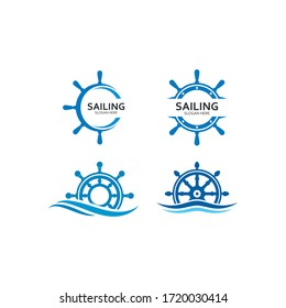 ship steering for sailing logo vector icon illustration template design