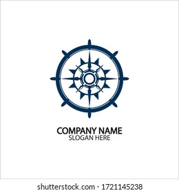 Ship steering wheel and conpass rose navigation symbol or logo isolated on white background - vector illustration