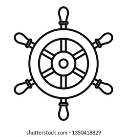 Ship steering wheel icon. Outline ship steering wheel vector icon for web design isolated on white background