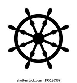 ship steering wheel icon - vector illustration