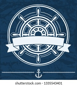 Ship steering wheel nautical corporate emblem with banner on blue grunge background. Vector illustration.