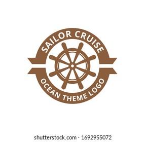 ship steering wheel nautical maritime sail boat theme vector logo design template