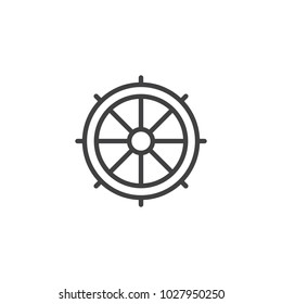 Ship steering wheel outline icon. linear style sign for mobile concept and web design. Rudder simple line vector icon. Symbol, logo illustration. Pixel perfect vector graphics