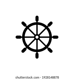 Ship steering wheel. Vector icon on white background.