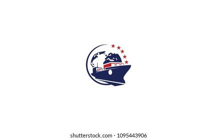 ship tanker shipping logo vector