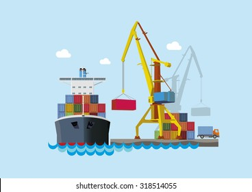 Ship unloading at the seaport. Flat vector concept.