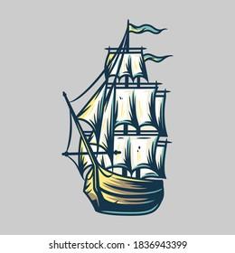 Ship vacation sea travel transport. Vector marine nautical illustration for logo design