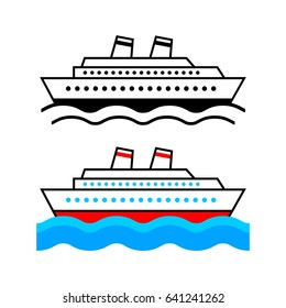 Ship vector icons on white background